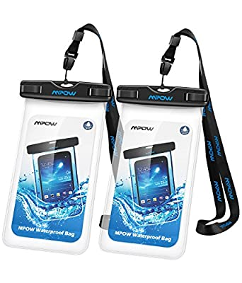 Mpow Universal Waterproof Case, IPX8 Waterproof Phone Pouch Dry Bag for iPhone X/8/8plus/7/7plus/6s/6/6s plus Samsung galaxy s8/s7 Google Pixel HTC10 (Clear 2-Pack)