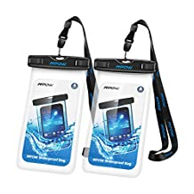 Mpow Waterproof Case,Mpow Universal Dirtproof Shockproof Snowproof Pouch Waterproof Case Bag for iPhone 7/7 Plus/6s / Plus / 6 / 5s / 5 / 5c, Samsung Galaxy S7 / S6 edge / S5 / Note 4 / 3 / 2, (2 Pack, Transparent)