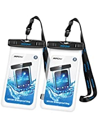 iPhone6 Waterproof Case,Mpow Waterproof Cell Phone Bag for Ice Fishing, Sledding,Skating,Skiing,Snowshoeing Universal Waterproof Pouch for iPhone 7/7 Plus/6s / Plus / 6 / 5s / 5 / 5c, Samsung Galaxy S7 / S6 edge / S5 / Note 4 / 3 / 2, (2 Pack, Transparent)