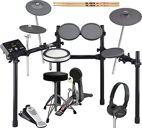 Yamaha DTX522K Electronic Drum Kit With Bass Pedal, Drum Throne, Sony Stereo Headphones, and Extra Pair of -