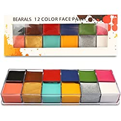 Face Paint, B Bearals 12 Colors Face Body Paint, Washable Body Paints for Kids & Adults, Professional Costume Face Painting Makeup, Easy to Apply & Remove (12 Colors)