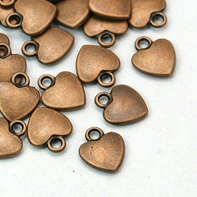 PEPPERLONELY Brand 100PC Heart Tibetan Red Copper Metal Charms 12x10mm (1/2 x3/8 Inch)