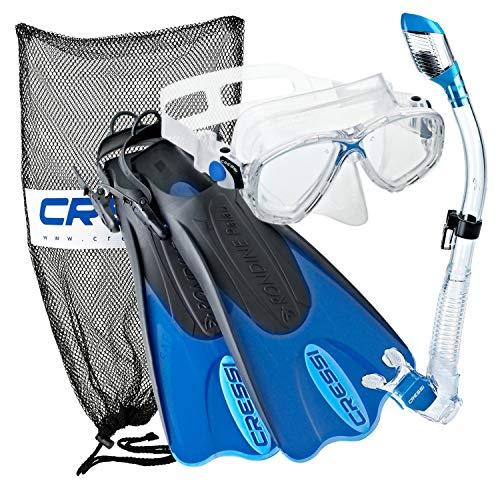 Cressi Palau Mask Fin Snorkel Set with Snorkeling Gear Bag, Blue, L/XL | (Men's 10-13) (Women's 11-14) (Best Snorkel Set For The Money)