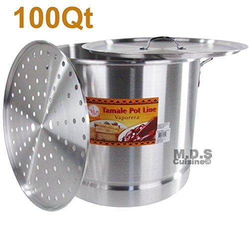 100 Qt Tamale Steamer Vaporera Stock Pot Premium Aluminum Tamalera 25 Gallons New by M.D.S Cuisine Cookware