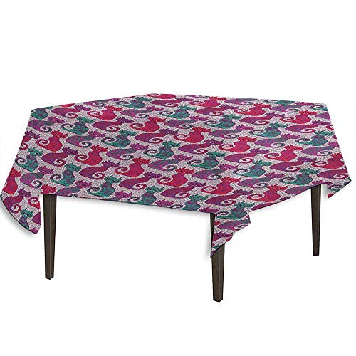 (kangkaishi Purple Waterproof Anti-Wrinkle no Pollution Swirls and Curls Background with Damask Inspired Paisleys on The Ethnic Colorful Cat Outdoor Picnic W54.3 x L54.3 Inch Multicolor)
