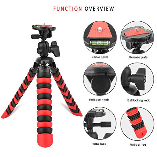 Tairoad 12-inch Portable Travel Selfie Bendable Phone Tripod for iPhone Xs Max X8 Plus 7 6 SE Android Huawei Samsung Gopro DSLR Camera with Cellphone Holder