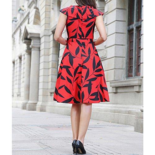 Honghu Verano Impresión Por la Rodilla Printing Vestidos Casual para Mujer Rojo