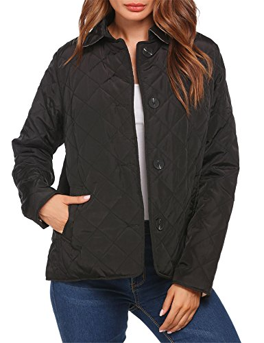 Unibelle Women's Button Down Diamond-Quilted Barn Pocket Jacket Black S (Diamond Coat Quilted Womens)