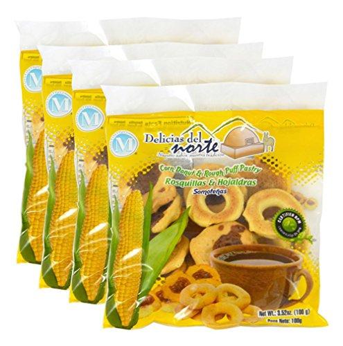 Corn Crunchy Rings (Rosquillas Somotenas), 3.52 Oz Bag - from Nicaragua. Package of 4. by Delicias del Norte