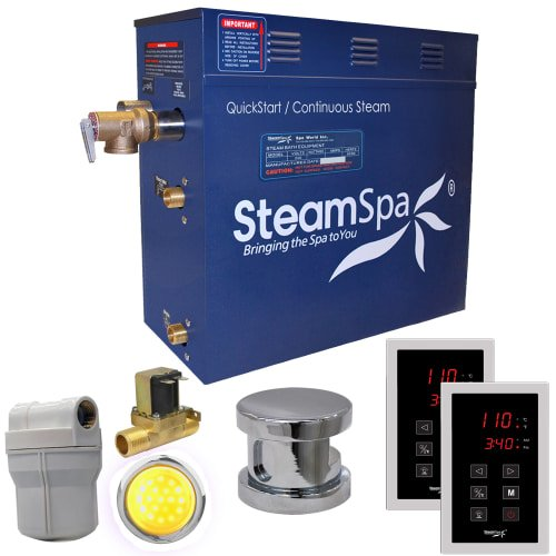 Generator Package - Steam Spa RYT900CH-A Royal 9 KW Quick Start Acu-Steam Bath Generator Package with Built-In Auto Drain, Chrome