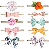 DANMY Baby Girl Super Stretchy Headband Big Lace Petals Flower Baby Hair Band Newborn Hair Accessories (Nylon bow15 (10pcs))