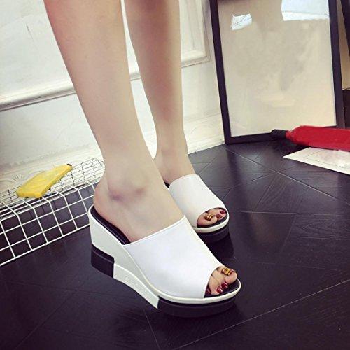 Fheaven Kvinna Sommar Skor Peep-toe Skor Romerska Sandaler Plattform Kil Flip Flops Halkfri Vitt