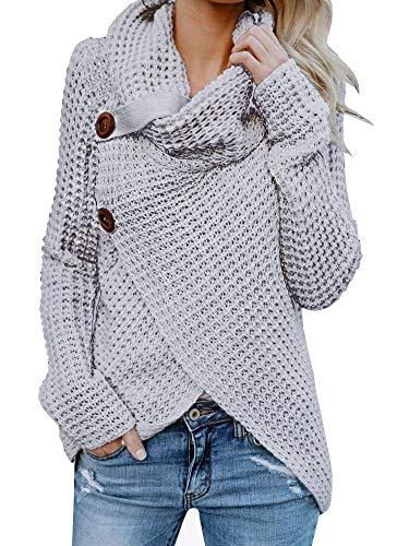 Inorin Womens Swearers Oversized Fall Pullover Cowl Neck Chunky Knit Wrap Sweater Jumper ()
