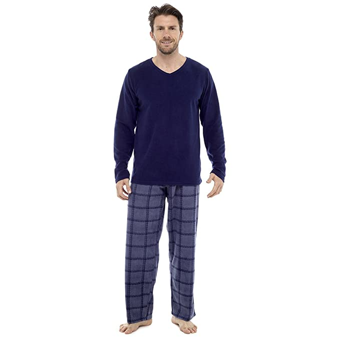 Para hombre themarl Micro forro polar anti píldora pijama Set, Azul Top, Large