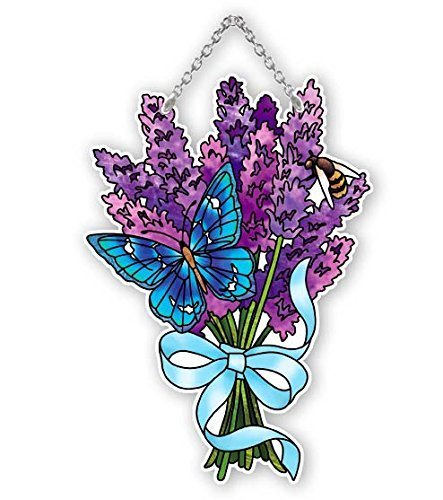 Butterfly and Lavender Stained Glass Suncatcher (SSD1040R) by Joan Baker (Glass Lavender Suncatcher)