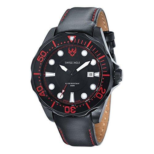 Mens Swiss Eagle Ballast 3 Hand/Date Black Dial/Black Lthr Watch