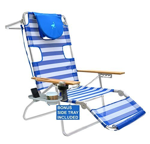 Ostrich 3 N 1 Beach Chair/Lounger / Chaise with Side Tray - Deluxe Beach Chair