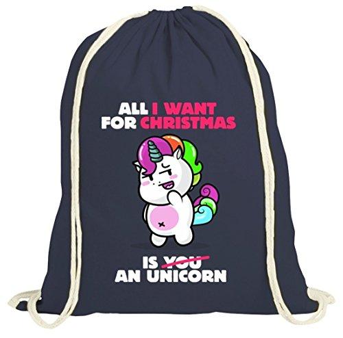 Geschenkidee Weihnachten natur Turnbeutel Gym Bag mit Unicorn Christmas Motiv Dunkelblau Natur