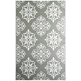 iCustomRug Oudoor Rug Collection - Medaillon Grey & White 6'X9' Reversible Picnic and Beach Area Rug, Perfect for Patio, Camping, BBQ & More