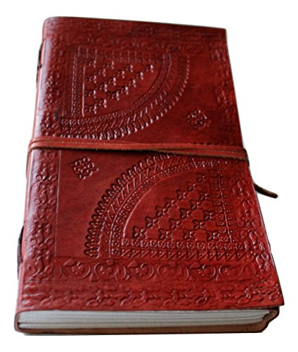 Large Classic Embossed Leather Journal Diary (Handmade) with leather strap closure – 25% off SALES + SPECIAL OFFER NOW! (9 x 5)