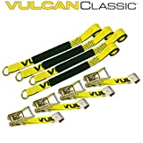 """Vulcan Classic Flatbed Car Tie Down Kit Universal O-Ring Strap and Flat Hook Ratchet (2 x 96"""" - Pack of 4) Safe Working Load - 3300 lbs."""
