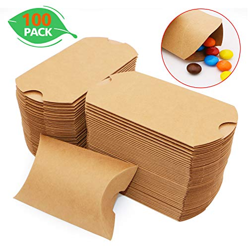 Pillow Kraft Paper Gift Boxes Candy Treat Boxes for Party Favor Wedding Baby Shower Birthday 100 Pack 35 x 1 x 25 Inches