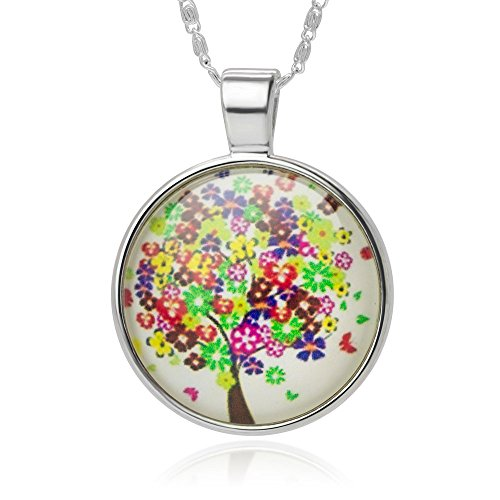Colorful Blooming Flowers Tree Glass Cabochon Art Picture Round Pendant Necklace, 18