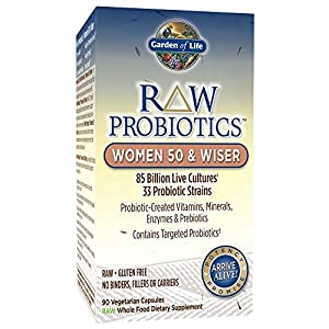 Garden of Life Whole Food Probiotic for Women - Raw Probiotics Women 50 & Wiser Dietary Supplement, 90 Vegetarian Capsules