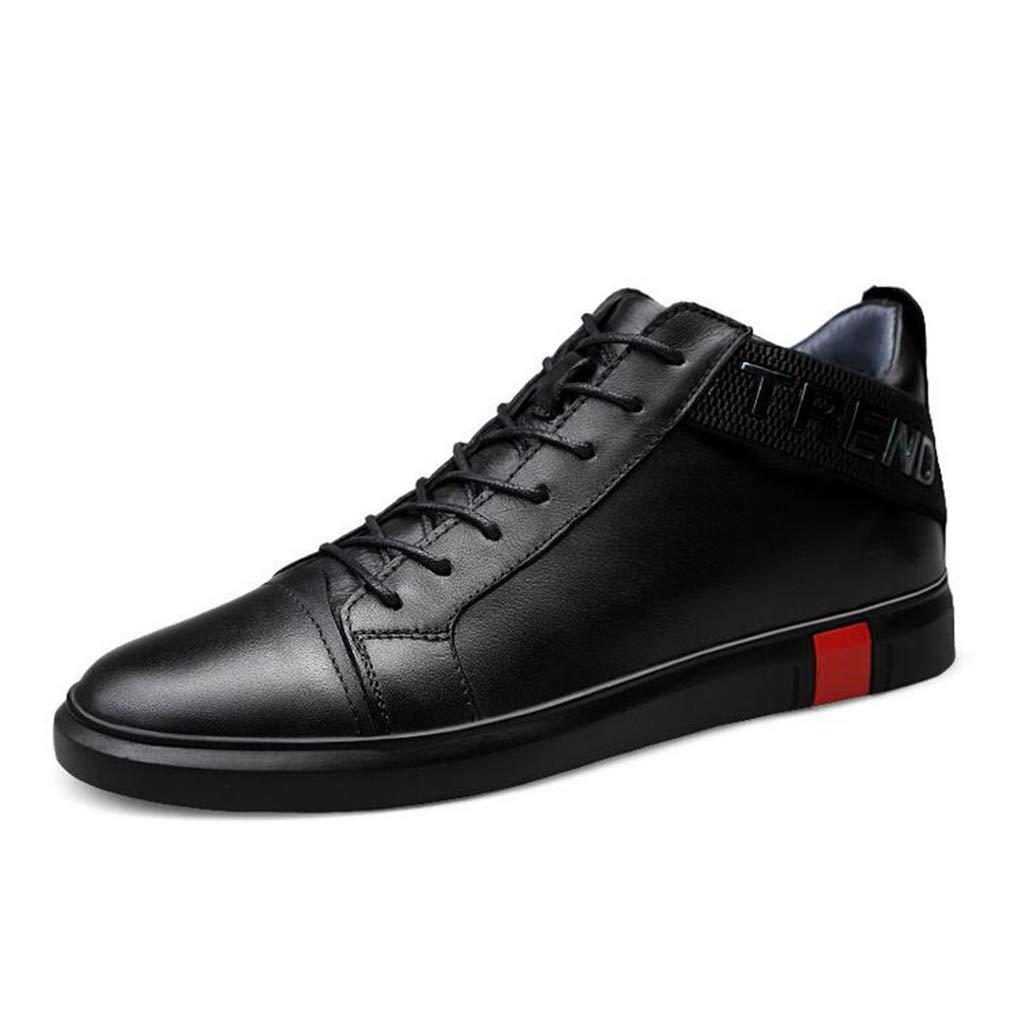 Hy Herrenschuhe, Leder-Frühlings- Fall-Deck-Schuhe, Trekking-Reiseschuhe Student Casual Running schuhe,schwarz,39