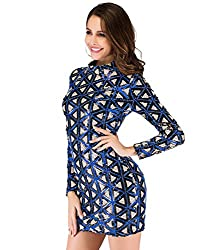 Long Sleeve Plaid Sequins Dress In Blue