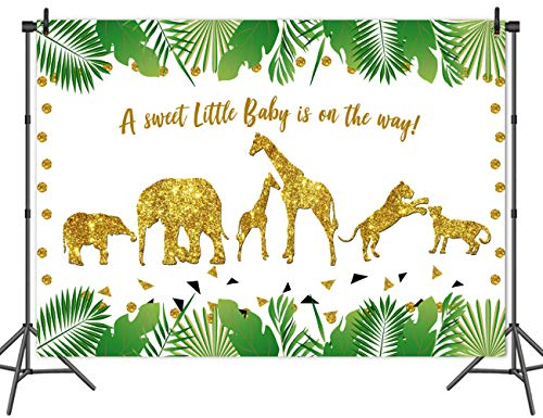 KSZUT Jungle Theme Birthday Party Backdrop Golden Glitter Wild One Animals Photography Background Summer Tropical Leaves Baby Shower Cake Table Decoration Photo Studio Props -