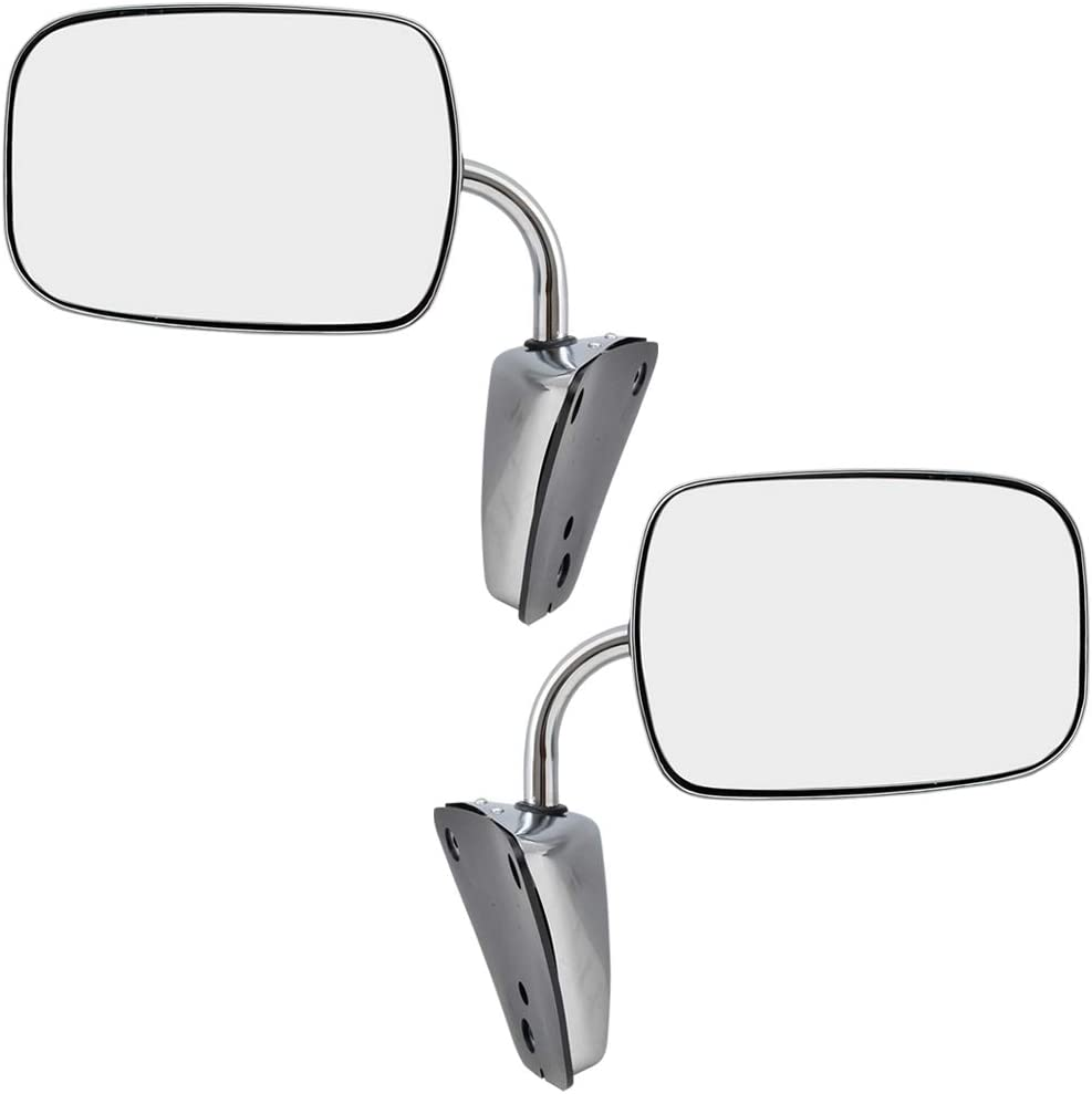 Manual Side View Mirrors Stainless Steel Pair Set for Chevy GMC Pickup Truck