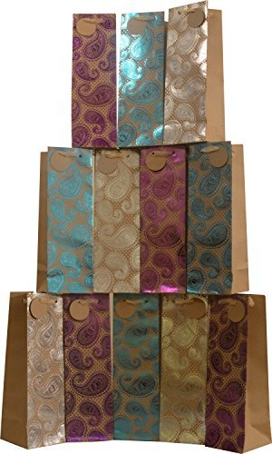 "UPC 794168716414, Kraft paper wine bags, set of 12 bags, brown with hot stamp paisley designs, 14""L x 4.5""W x 4.5""D, heavy duty"