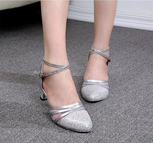 Heel Silver Leather Tango Dance Salsa Ankle UP Strap Buckle Ballroom Latin Samba Doris Shoes Women's High 0ZwZXq