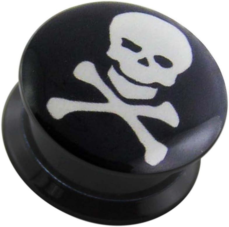 Monster Piercing 00 Gauge 10mm Skull With Crossbones Logo Black