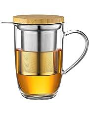 ecooe 440ml glas te kopp borosilikat te kopp te glas med ultrafin 18/10 sil av rostfritt stål Naturligt bambulock förtjockat glas kopp för kaffe juice kolsyrade drycker mjölk yoghurt