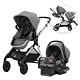 Evenflo Pivot Xpand Modular Travel System, Baby Stroller, Up to 22 Configurations, Extra-Large Storage, Single-to-Double Stroller, Durable Construction, Compact Folding Design, Stallion Black