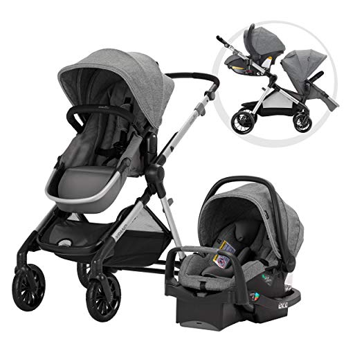 Evenflo Pivot Xpand Modular Travel System, Baby Stroller, Up to 22 Configurations, Extra-Large Storage, Single-to-Double Stroller, Durable Construction, Compact Folding Design, Percheron Gray (Car Seat Stroller Double)