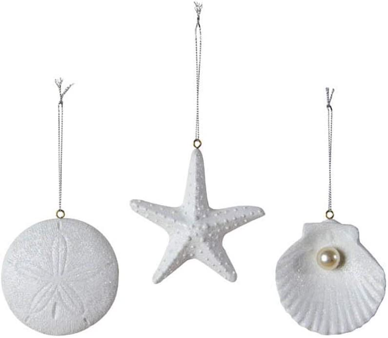 Ohio Wholesale Set of 3 Sea Treasures Ornaments Sand Dollar Starfish and Scallop with Pearl Hanging Figurines