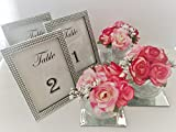 Set of 5 Custom Wedding Blink Table Numbers Silk flowers – Elegant banquet, birthday, catering, wedding, wedding reception, anniversary, party, home event place organizing pack