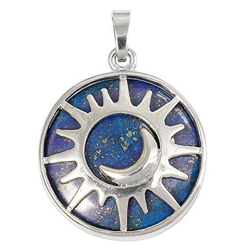 SUNYIK Round Moon and Sun Amulet Pendant Necklaces for Women, Lapis Lazuli