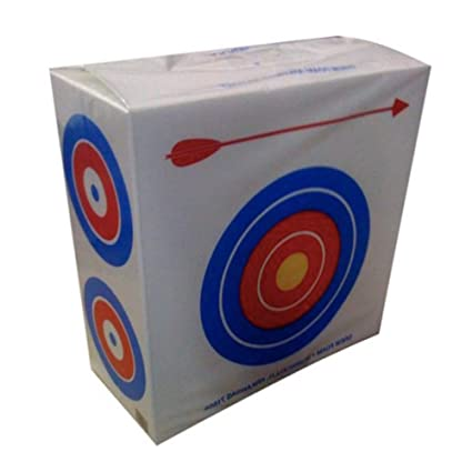 Drew Polystyrene Foam Archery Target 2' Square With a Large Bull's Eyes on  One Side for Beginners and Four Smaller Bull's Eyes on The Other Side for