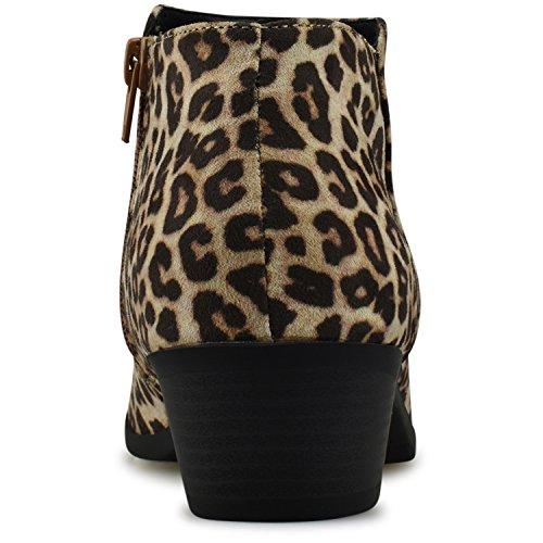 Round Premier Heel Ankle Cheetah Stacked Oat Standard Western Toe Suede Women's Faux Bootie ww4xa0rEZq