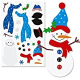 36 pc - Christmas Sticker sheets - Decorate Your Own Snowman, Make a Gingerbread House and Dress an Elf - Bulk Class Pack
