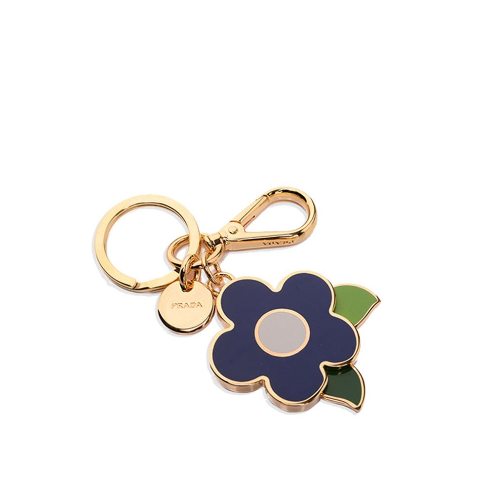 Prada 1PS644 Acciaio Smalto Metallo Metal Flower Handbag Charm Cobalto Blue