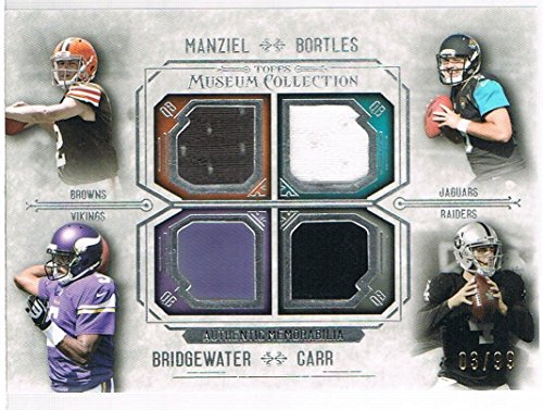2014 Topps Museum Collection Quad Player Relics Jersey #FPQRMBBC Derek Carr/Teddy Bridgewater/Johnny Manziel/Blake Bortles #d 03/99 RC Rookie ()