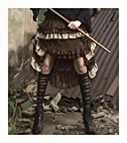Women's Layered Hi-Low Steampunk Skirt Brown (Small/Medium)