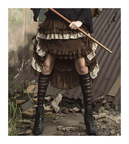 Women's Layered Hi-Low Steampunk Skirt Brown (Western Saloon Costume Ideas)