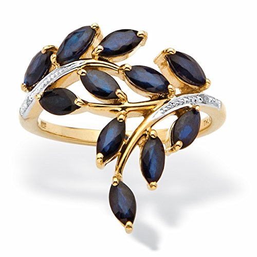 Genuine Marquise-Cut Midnight Blue Sapphire Diamond Accent 18k Gold over .925 Silver Ring (Genuine Marquise Sapphire Ring)