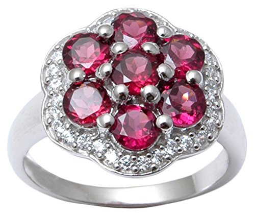 Banithani 925 Pure Silver Indian Fashion Charm Rhodolite Garnet Stone Women Ring Jewelry (Rhodolite Charm Garnet)